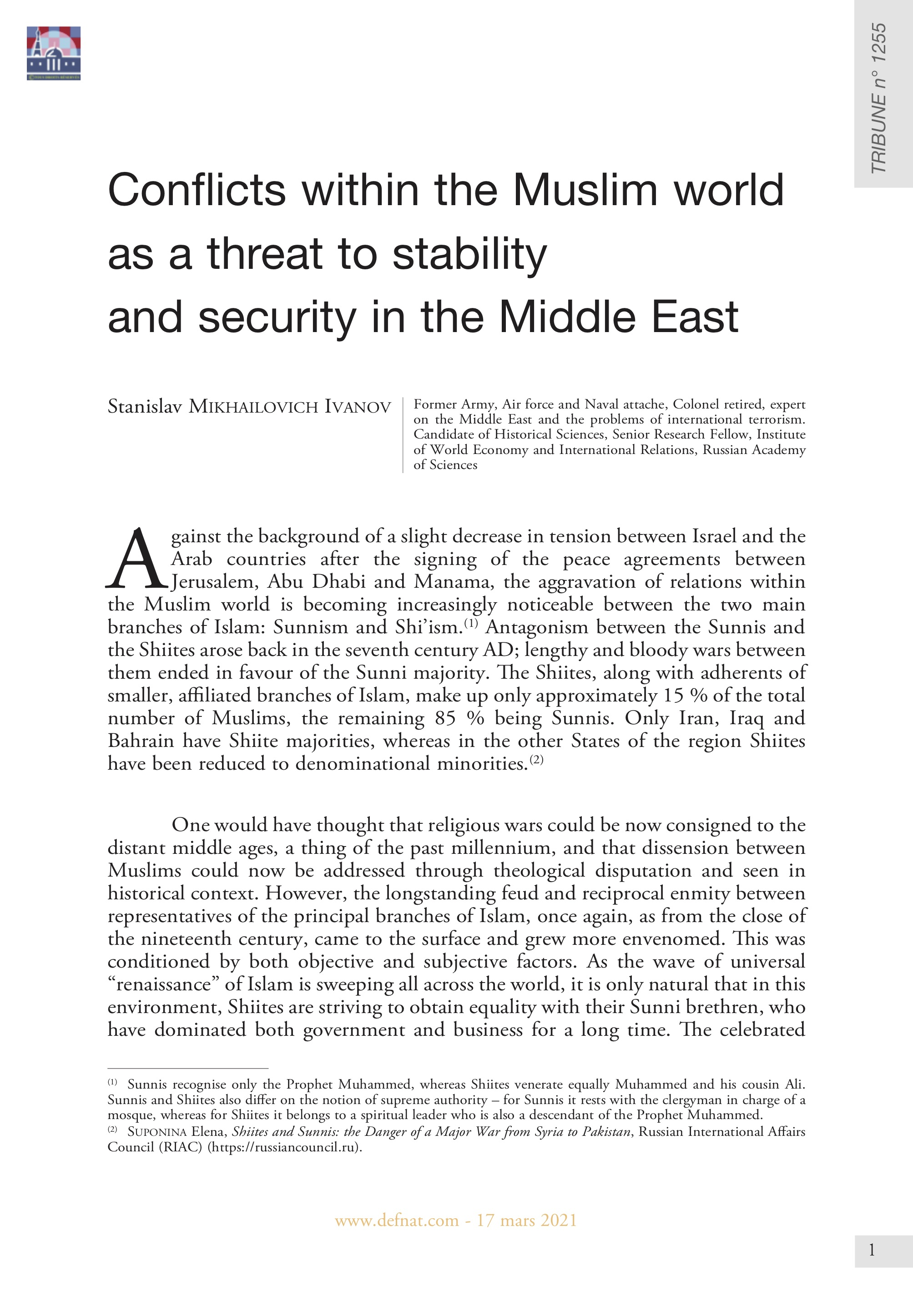 Conflicts within the Muslim World as a Threat to Stability and Security in the Middle East (T 1255)