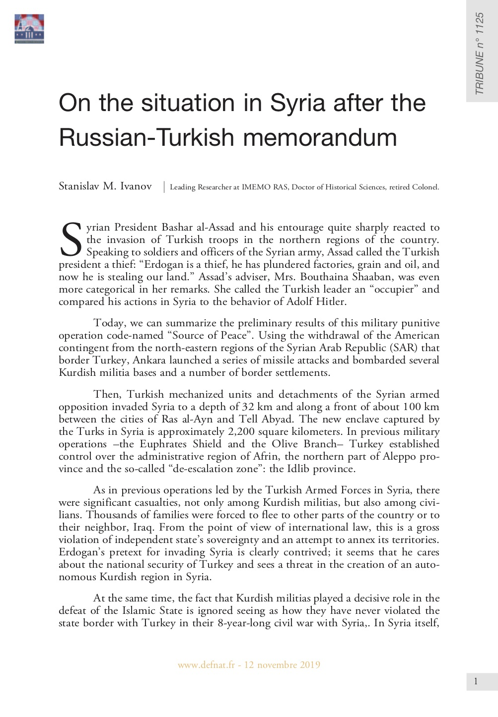 On the situation in Syria after the Russian-Turkish memorandum (T 1125)