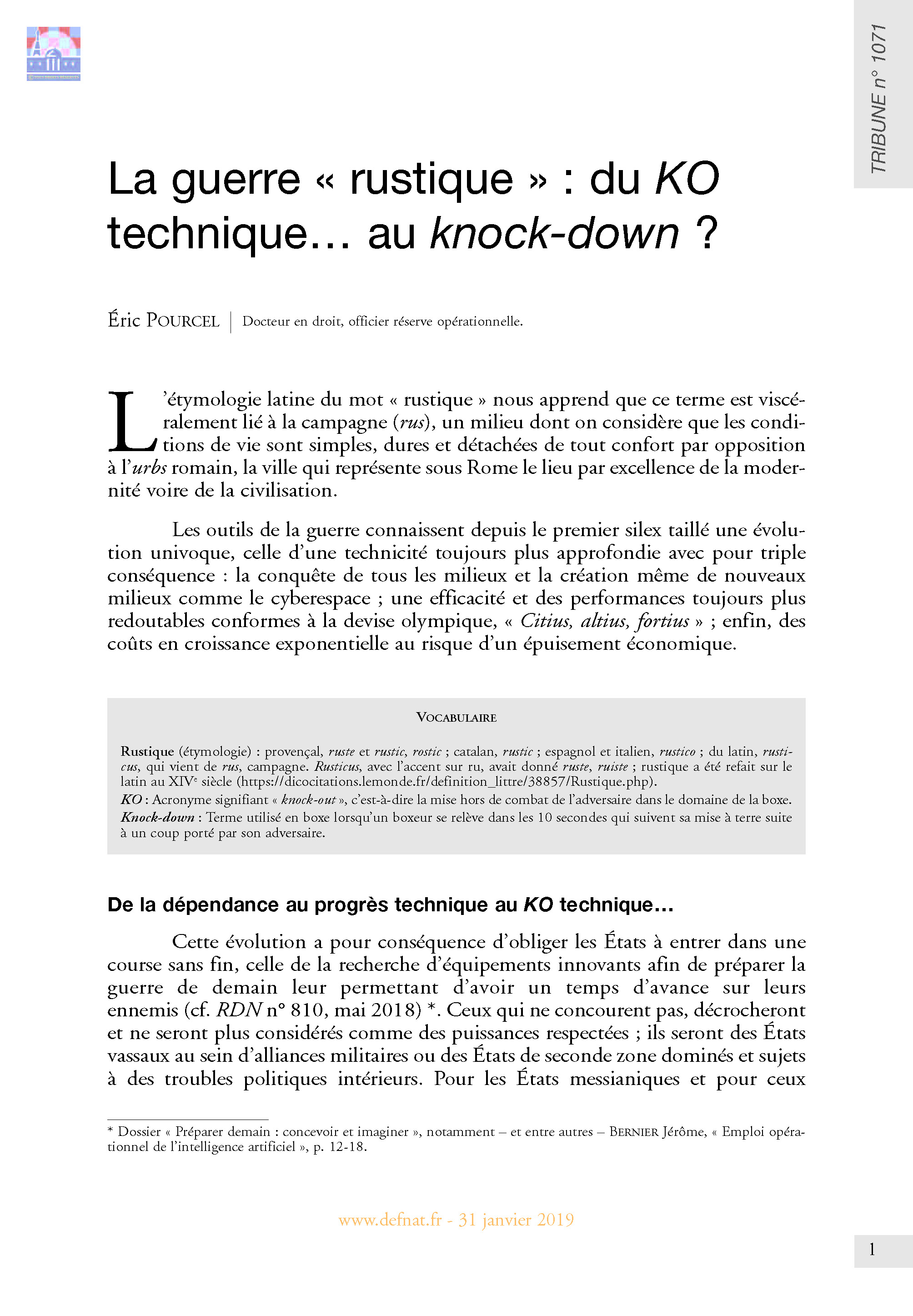 La guerre « rustique » : du KO technique… au knock-down ? (T 1071)