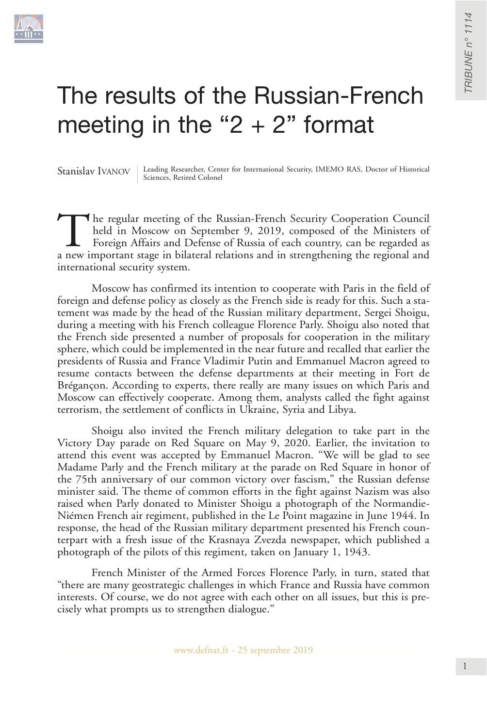 The results of the Russian-French meeting in the « 2 + 2 » format (T 1114)